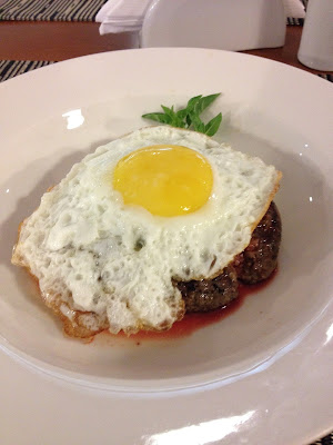 Burger topped with a fried egg