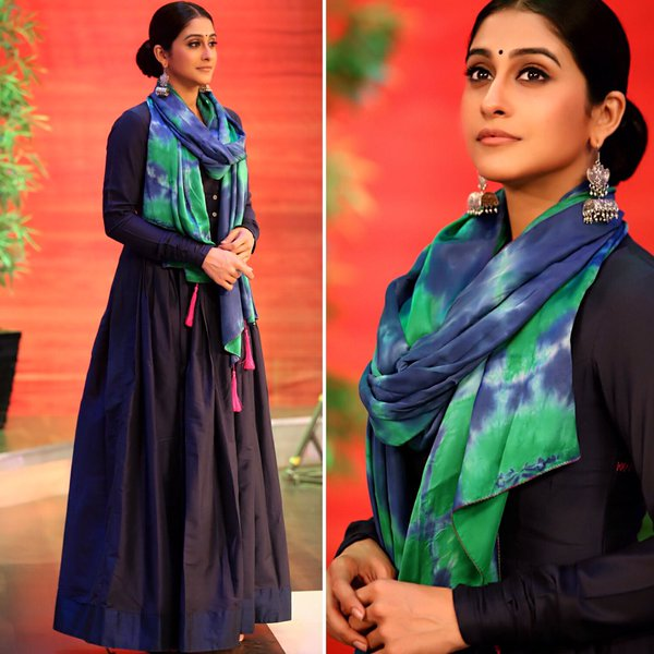 Regina Cassandra in Mint Blush Designs Dark Blue Floor Length Dress