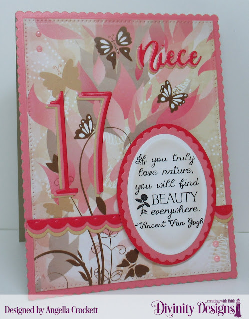 Divinity Designs: Long and Lean Numbers Dies, Family Names 3 Dies, Scalloped Rectangles Dies, Pierced Rectangles Dies, Scalloped Ovals Dies, Ovals Dies, Beautiful Blooms Paper Pad, Bitty Borders Dies, NCC Find Beauty, Card Designer Angie Crockett