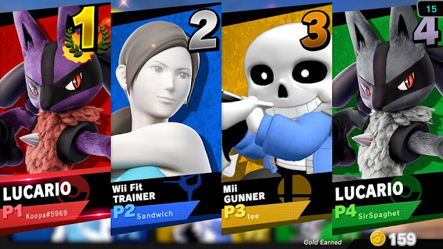 Super Smash Bros. Ultimate fuck Sans Lucario results screen