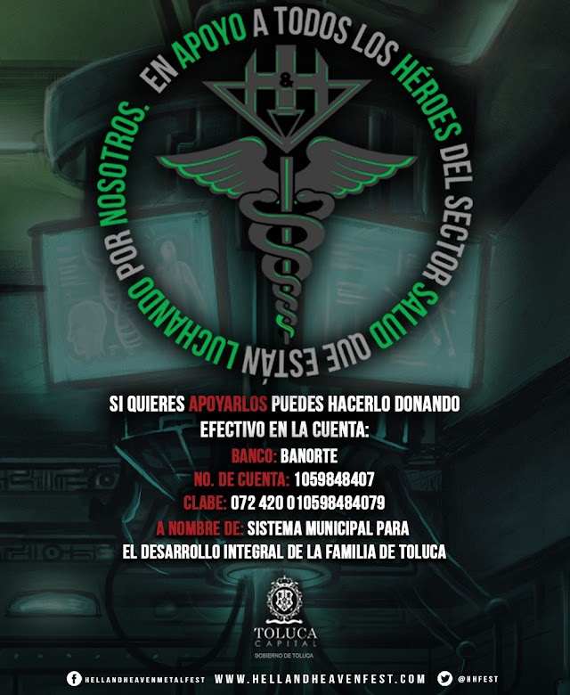 HELL AND HEAVEN METAL FEST SE SUMA A DONACIONES EN APOYO AL SECTOR SALUD DE TOLUCA por el COVID-19