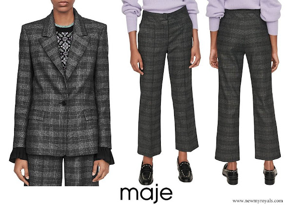Princess Marie wore Maje Vanda Plaid Blazer Maje Panda Glen Plaid Trousers