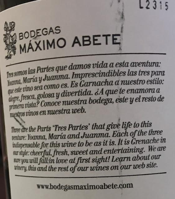 Bodegas Máximo Abete. Contraetiqueta.