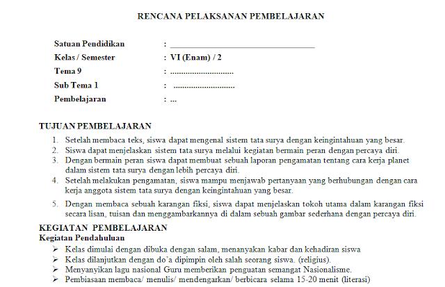RPP 1 Lembar Kelas 6 SD/MI Tema 6: Menuju Masyarakat Sejahtera