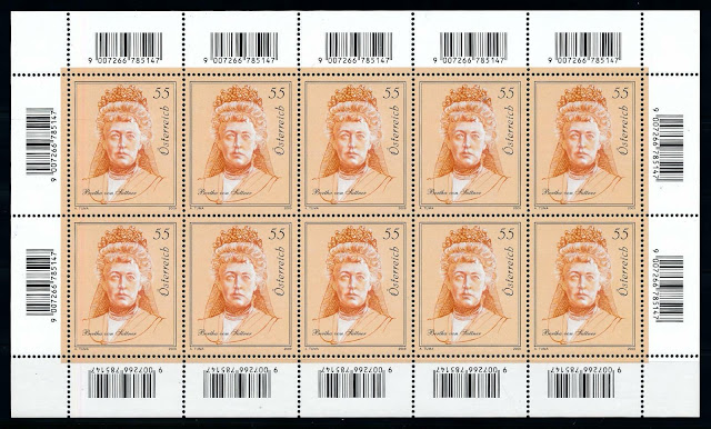 Austria 2009 Bertha von Suttner Novelist Nobel Price Winner Sheet.