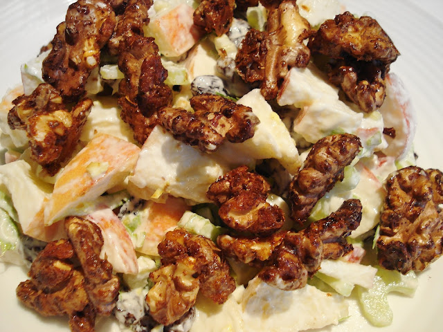 Vegan Waldorf Salad sprinkled with candied walnuts