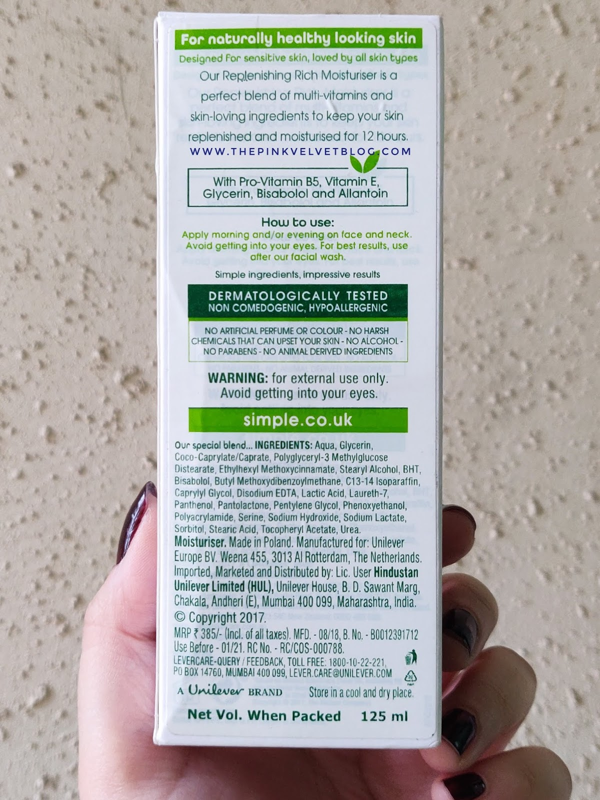 Simple Replenishing Rich Moisturizer - Review | Sensitive Skin Experts - Ingredients