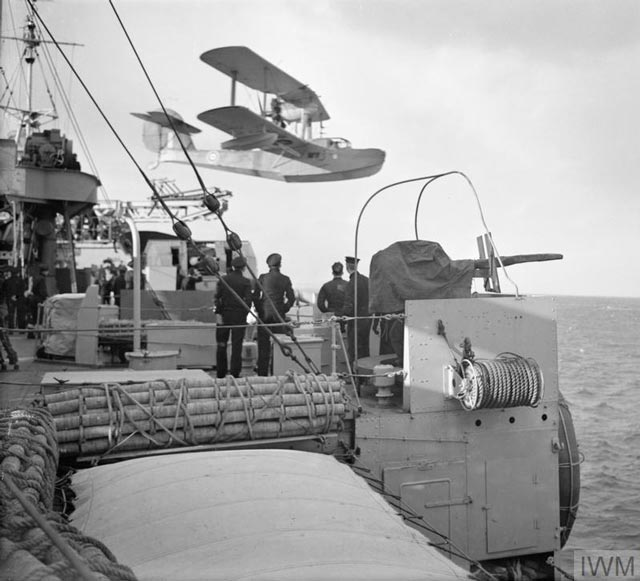 Walrus being launched from HMS Shropshire, 8 March 1942 worldwartwo.filminspector.com