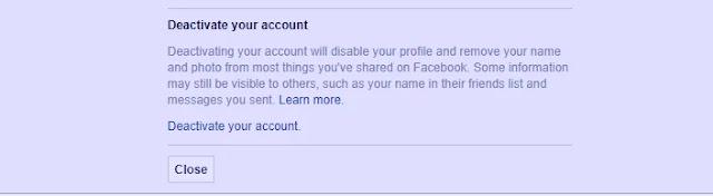 الغاء تفعيل حسابك على الفيس بوك
