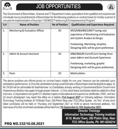 IT Department Quetta Jobs 2021 | Government of Balochistan