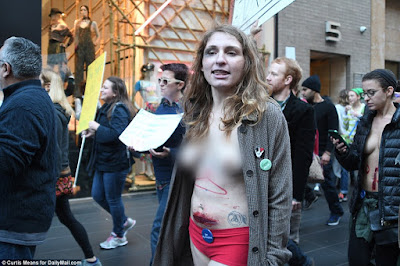 Protesters Strip Semi-naked To Demonstrate In Front Of Trump Tower (pics)