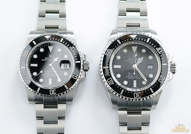 photo of Rolex Submariner Date (left) and Rolex Deepsea Sea-Dweller (right) side by side
