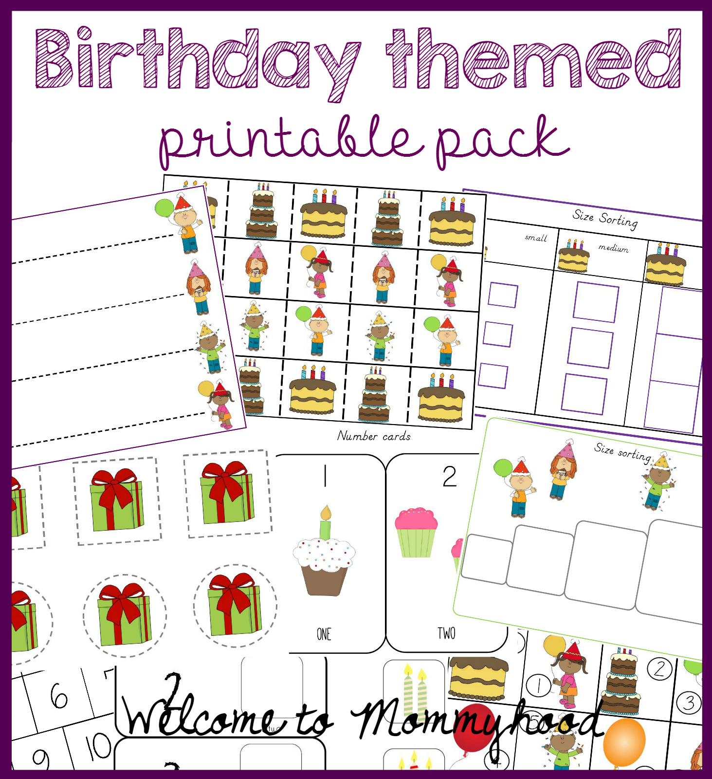 welcome to mommyhood birthday themed printable pack for kids. Black Bedroom Furniture Sets. Home Design Ideas