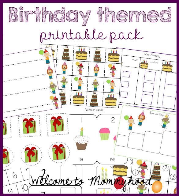 Birthday themed printable pack by Welcome to Mommyhood #preschoolactivities, #preschool, #montessori, #montessoriactivities, #freeprintables