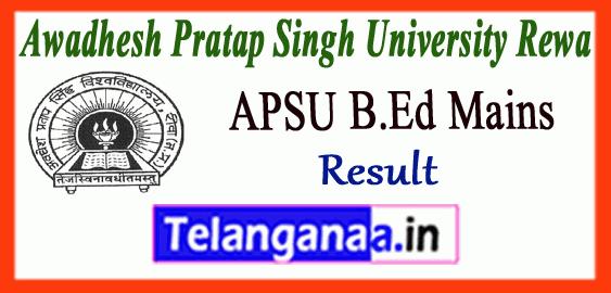 APSU Awadhesh Pratap Singh University Rewa B.Ed 1st 2nd Year Mains ATKT Result