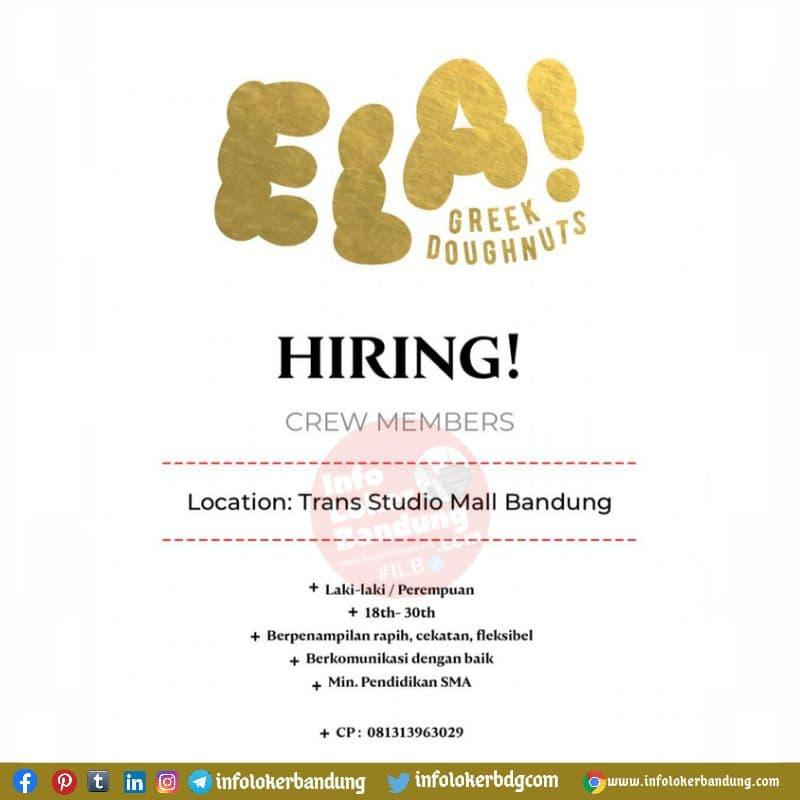 Lowongan Kerja ELA! Greek Doughnuts Cabang TSM Bandung Agustus 2021