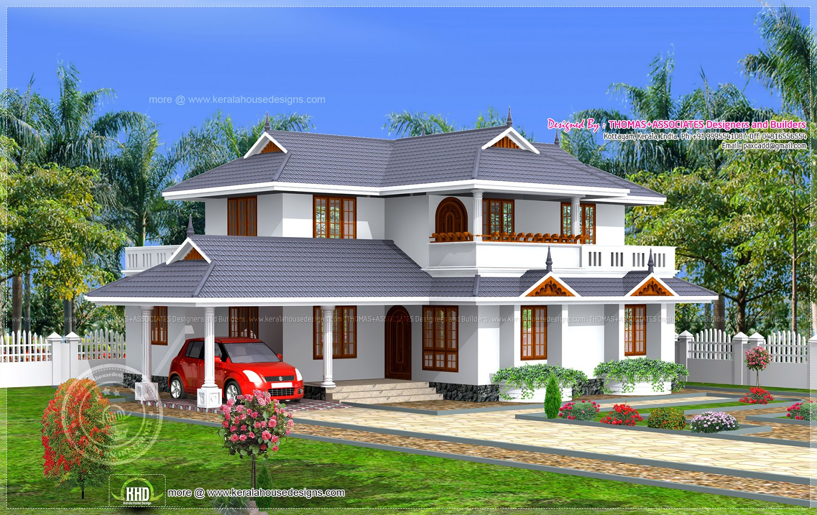 4 bedroom kerala model home in 204 home kerala for Two floor house plans in kerala
