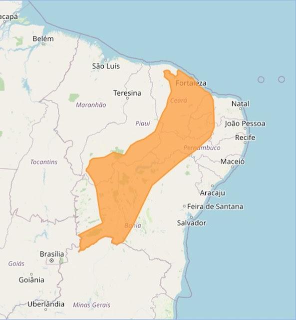 Inmet emite dois alertas de chuvas intensas no RN; entre as cidades, Caraúbas