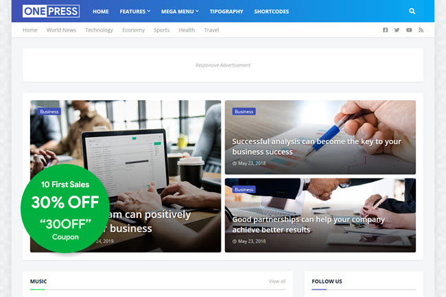 onepress blogger template free download