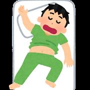 お腹を出して寝る人のイラスト(男性)