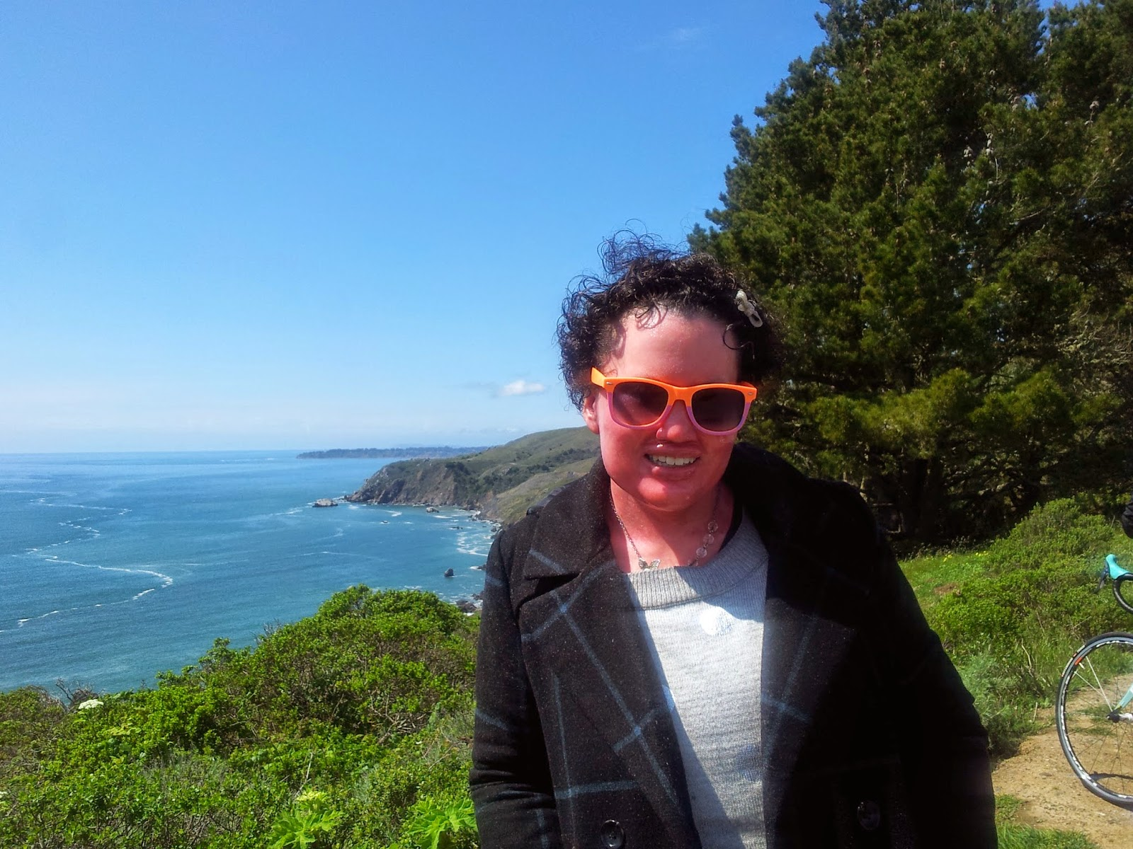 Carly Findlay in front of sea at Sausalito, USA