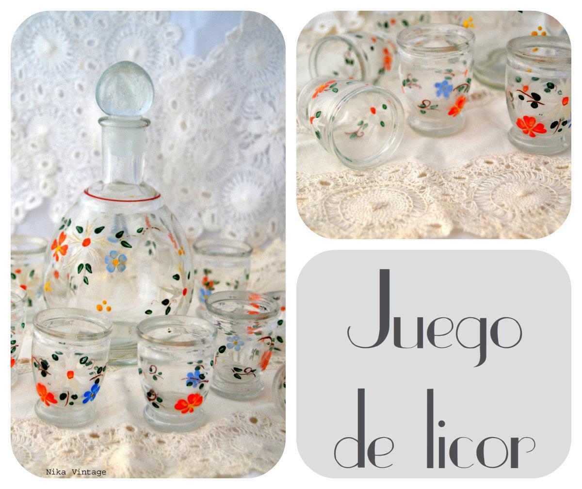 juego de licor, complementos, objetos antiguos, mesa navideña, navidad, decoracion, cristal,