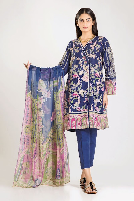 khaadi winter collection khaddar chiffon blue dress