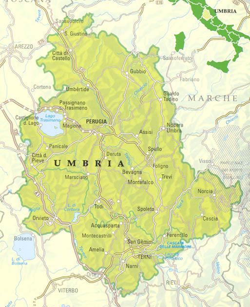 Cartina Italia Politica Umbria.Mappa Della Citta Di Provincia Regionale Italia Cartina Politica Della Umbria