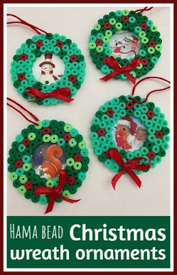 Hama bead Christmas wreath ornaments craft