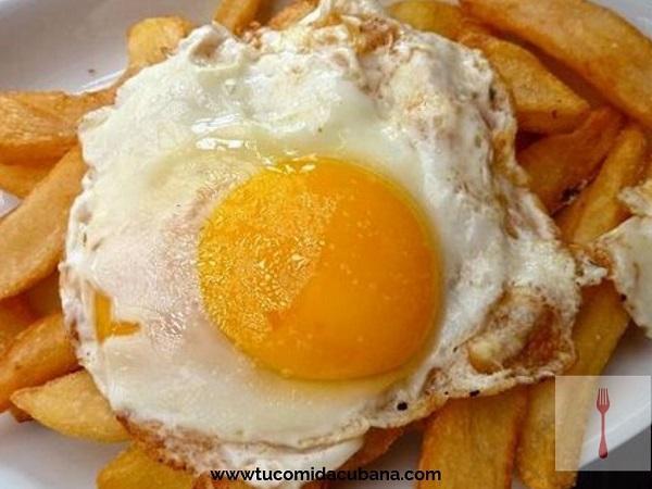 ✔️ Cómo hacer huevo frito con papa y jamón