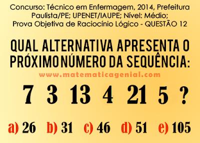 Desafio - Raciocínio Lógico - Qual o próximo número da sequência?