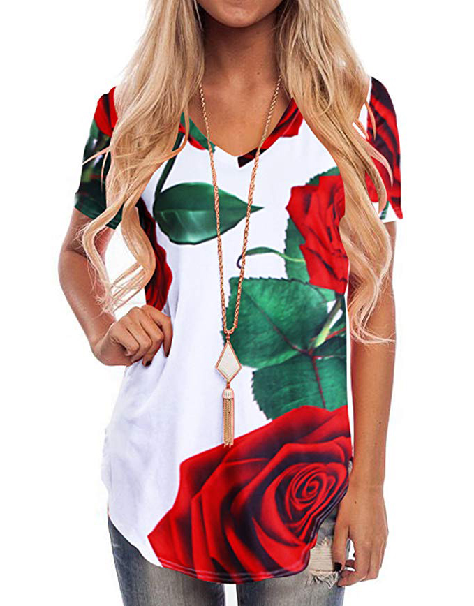 WFTBDREAM Womens Casual Curved Hem Long Sleeve T Shirt V Neck Side Slit Blouse - floral White2