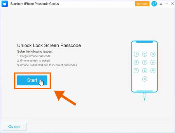 Click Start to unlock iPhone