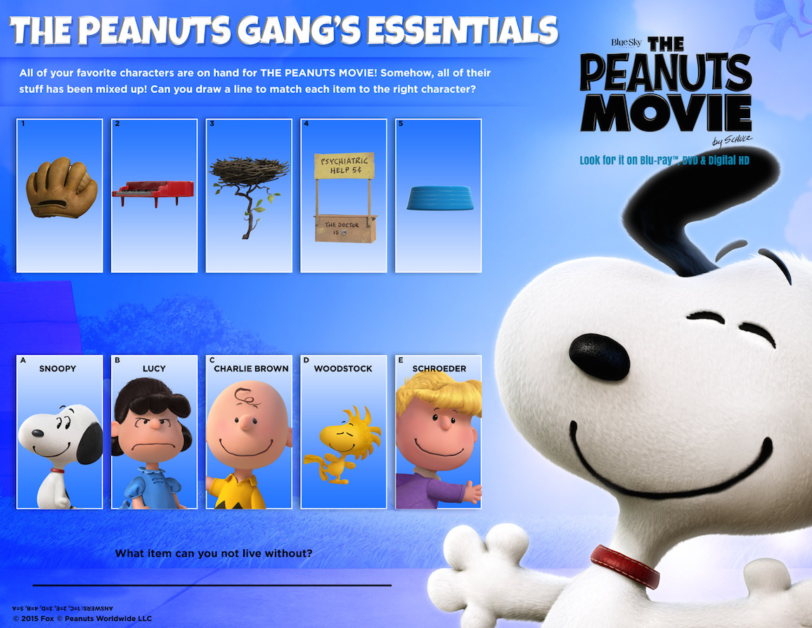 The Peanuts Movie T Set Giveaway Free Printable Activity Sheets