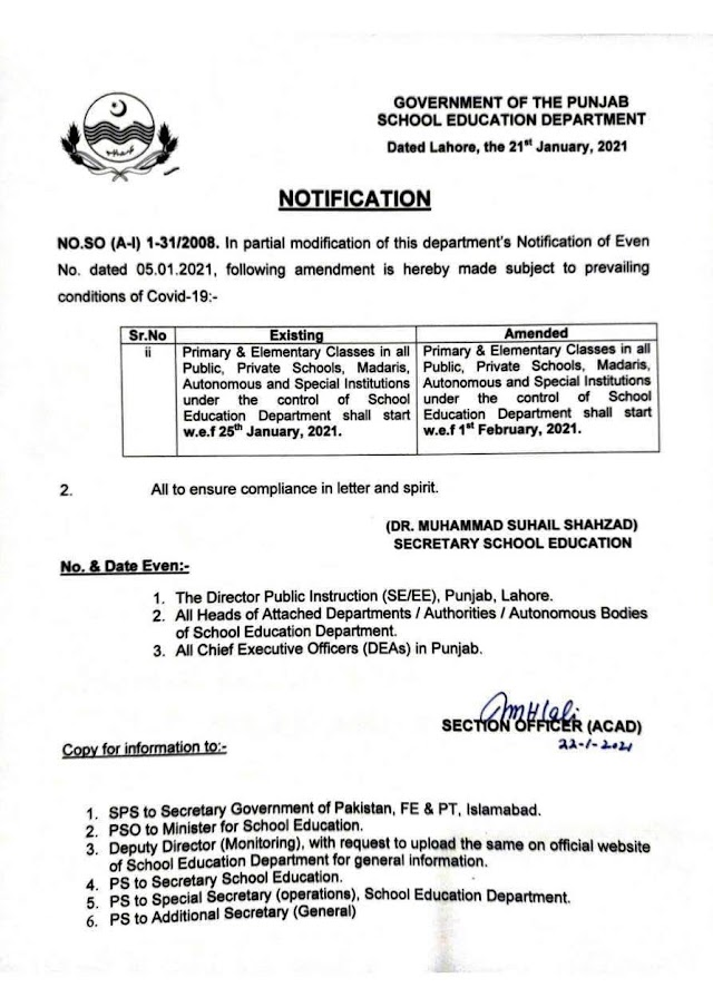 NOTIFICATION REGARDING STARTING OF ELEMENTARY AND PRIMARY CLASSES IN SCHOOLS
