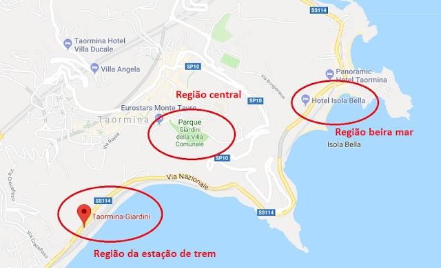 Mapa das regiões de Taormina