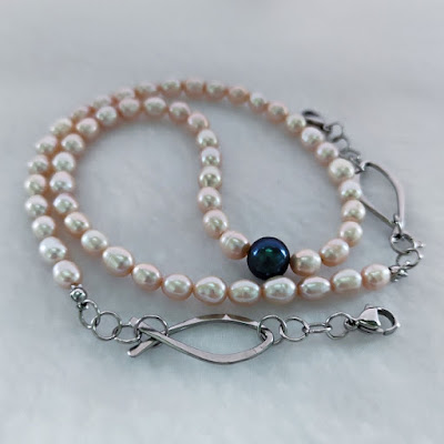 Face Mask / Eyeglasses Chain with Pearl and Wire Fish / Ichthus