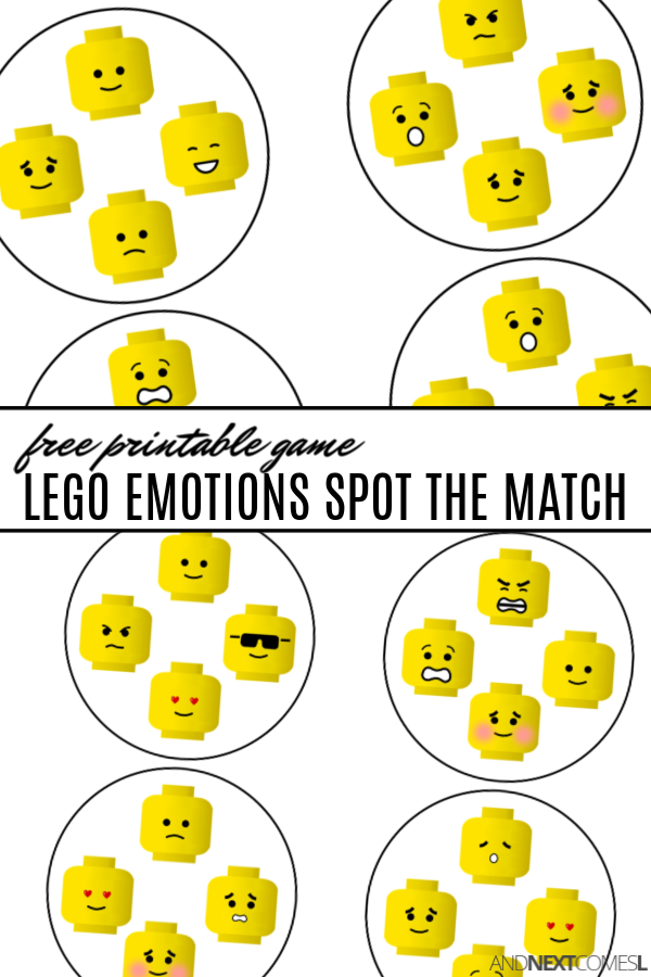 Free printable LEGO emotions spot the match game {free printable Spot It game}