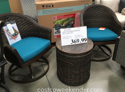 Chill outside with a friend with the Agio International 3-piece Swivel Bistro Set