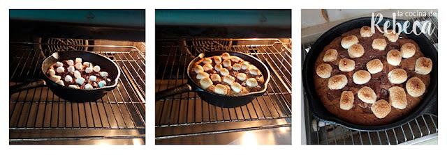 Receta de galleta de chocolate y nubes en sartén: horneado