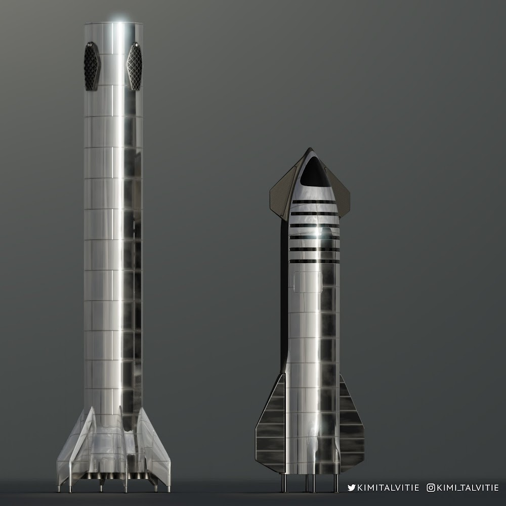 SpaceX new Starship next to Super Heavy booster by Kimi Talvitie