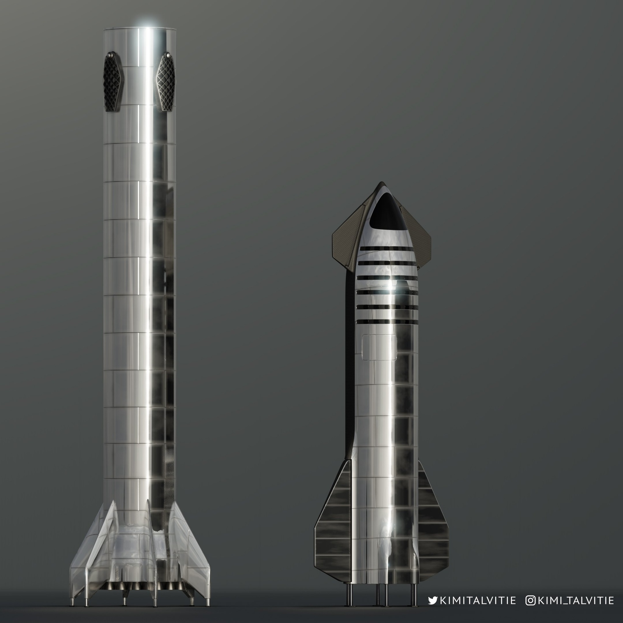 SpaceX new Starship next to Super Heavy booster by Kimi Talvitie | human  Mars