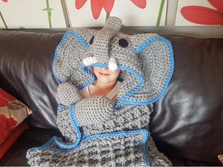 2in1 Elephant Hooded Blanket Crochet Pattern In Child And