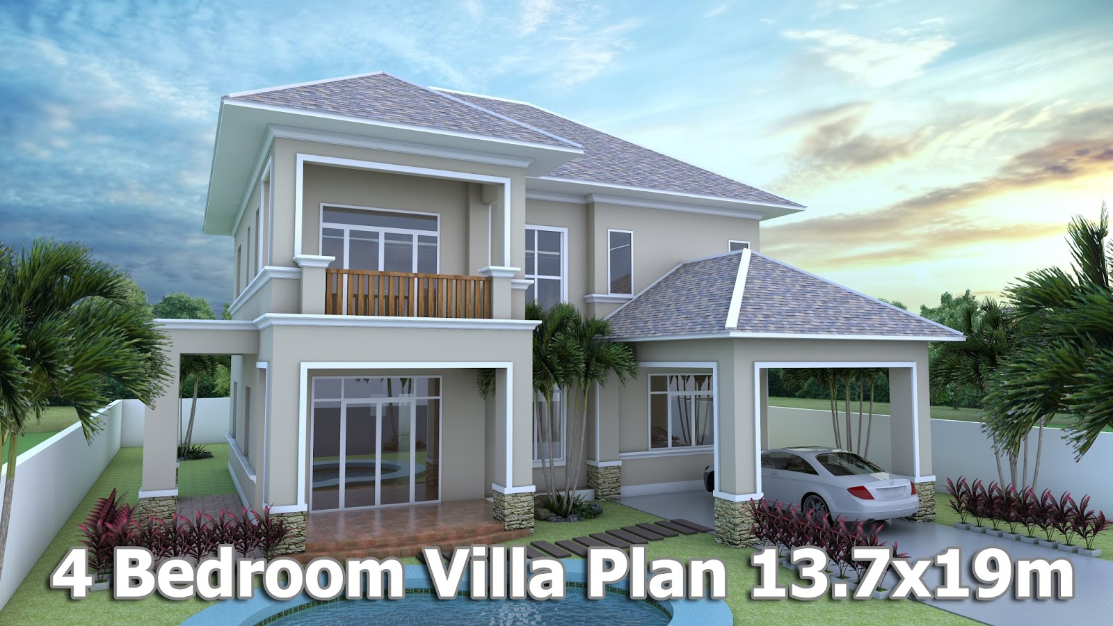 Home Design 3d Sketchup Villa Plan 13.7x19m
