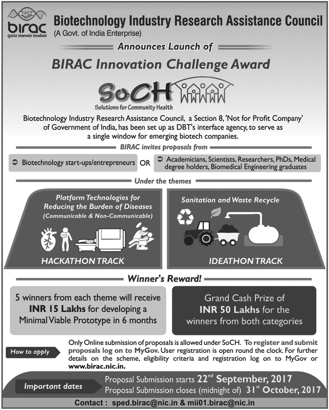BIRAC Announces Innovation Challenge Awards 2017 ~ helpBIOTECH