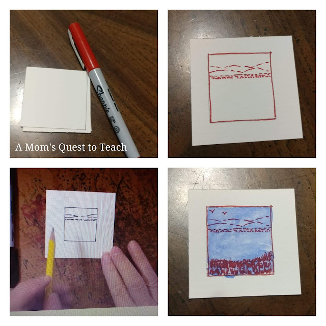 pen and ink watercolor in four pictures (one photo of lesson from online)