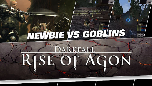 Darkfall: Rise of Agon! Newbie / Noob Fighting Goblins!
