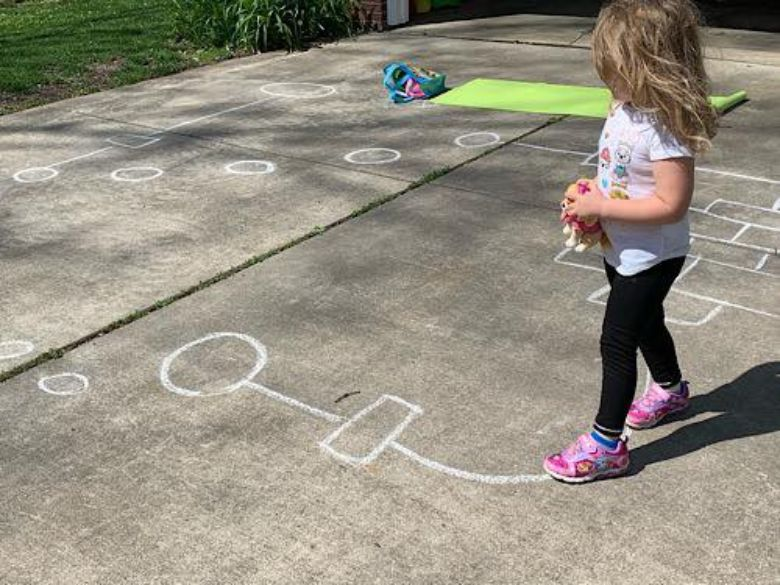 sidewalk chalk obstacle course idea