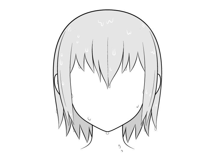 Shading rambut basah anime