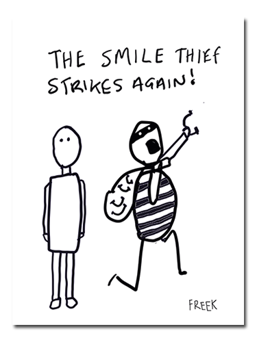 The SMile Thief Strikes Again by Sam Freek - Contemporary black and white drawing by Sam Freek